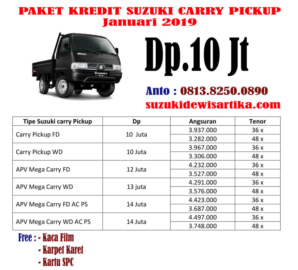 PAKET KREDIT SUZUKI CARRY PICKUP JANUARI 2019