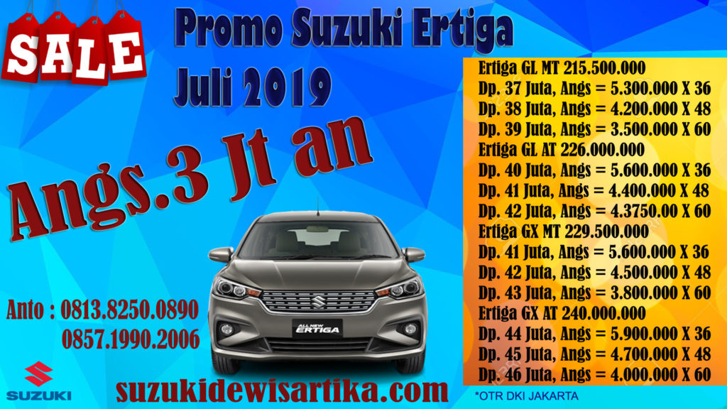 PAKET KREDIT SUZUKI ALL NEW ERTIGA BULAN JULI 2019 CICILAN 3 JUTAAN