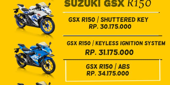 "Harga Update Februari Motor Suzuki GSX R150<span class=""rating-result after_title mr-filter rating-result-9224"">	<span class=""mr-star-rating"">			    <i class=""fa fa-star mr-star-full""></i>	    	    <i class=""fa fa-star mr-star-full""></i>	    	    <i class=""fa fa-star mr-star-full""></i>	    	    <i class=""fa fa-star mr-star-full""></i>	    	    <i class=""fa fa-star-o mr-star-empty""></i>	    </span><span class=""star-result"">	4/5</span>			<span class=""count"">				(1)			</span>			</span>"